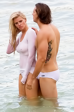 Lara Stone in the sea