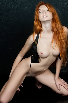 Busty Redhead Teen Michelle H Stripping