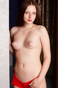 Belarusian Babe Sienna Strips Cute Red Panties