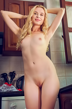 Maria Rubio - Skinny blonde young hotly undresses and poses in the kitchen