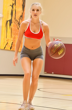 Skinny blonde Angelina FTV poses on basketball field